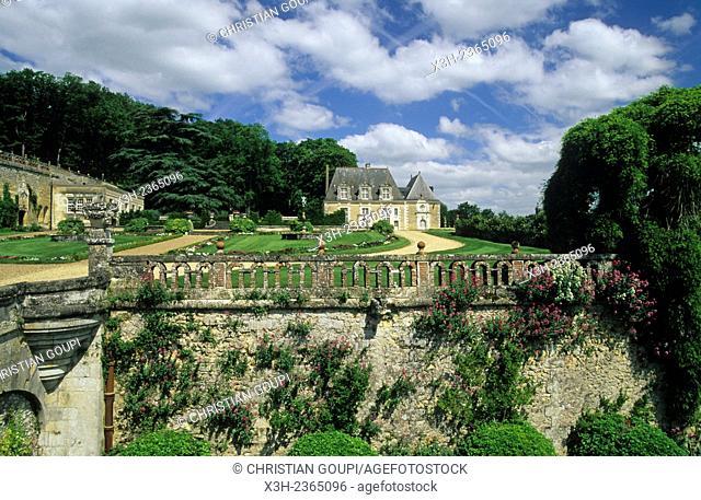 terraced garden of Valmer Castle, Chancay, Brenne valley, Indre-et-Loire department, Centre region, France, Europe