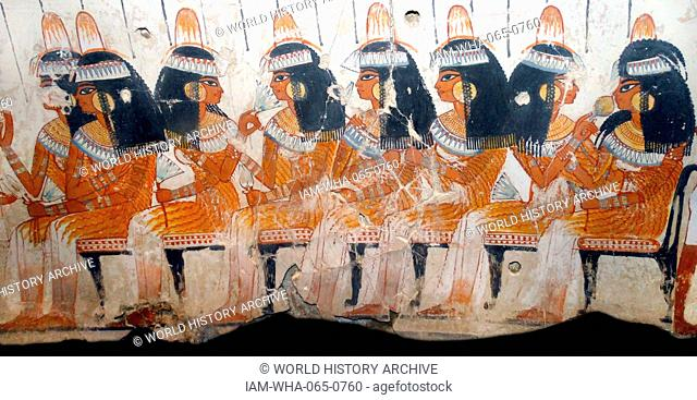 Fresco from the tomb of Nebamun, Fragment of a polychrome tomb-painting showing a banquet scene. Thebes, Egypt 18th Dynasty, around 1350 BC