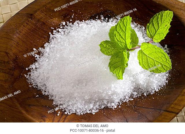 Spa elements, koa bowl filled with raw salt, garnished with a sprig of mint