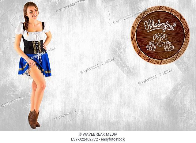 Composite image of oktoberfest girl lifting her skirt