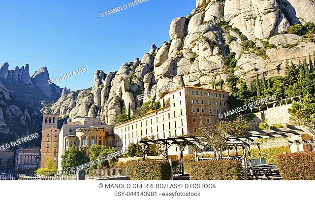 Overview of the Abbey of Montserrat, Barcelona, Catalunya, Spain