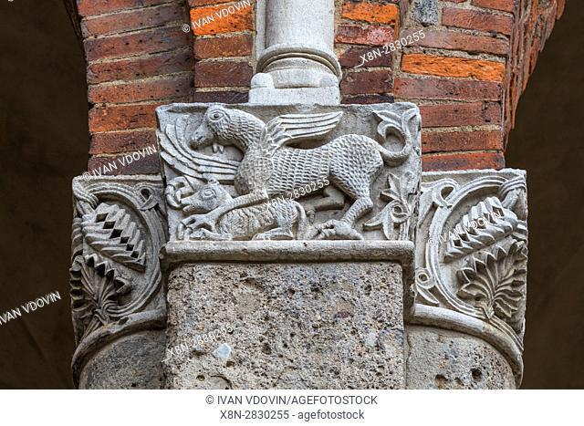 Capital column, Basilica of Sant Ambrogio, Milan, Lombardy, Italy