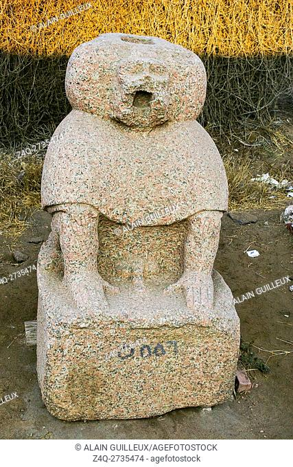 Egypt, Nile Delta, Tanis, artifacts displayed near the mission house : Statue of a baboon