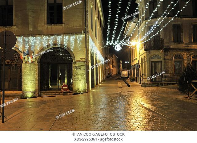 village of Lauzun at night with Christmas lights, Lot-et-Garonne Department, New Aquitaine, France
