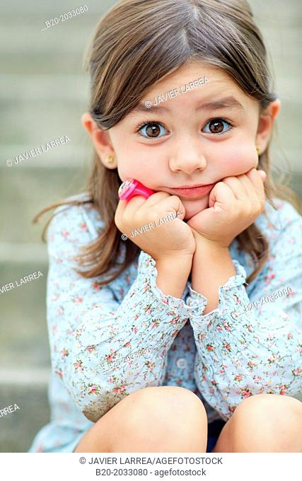 5 year old girl. Donostia. San Sebastian. Gipuzkoa. Basque Country. Spain