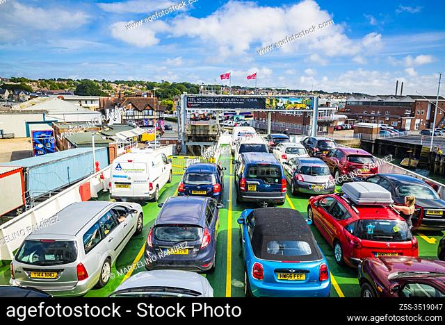 Cars on the ferry deck. MV Red Eagle is a Raptor Class vehicle and passenger ferry operated by Red Funnel on their route from Southampton to East Cowes on the...