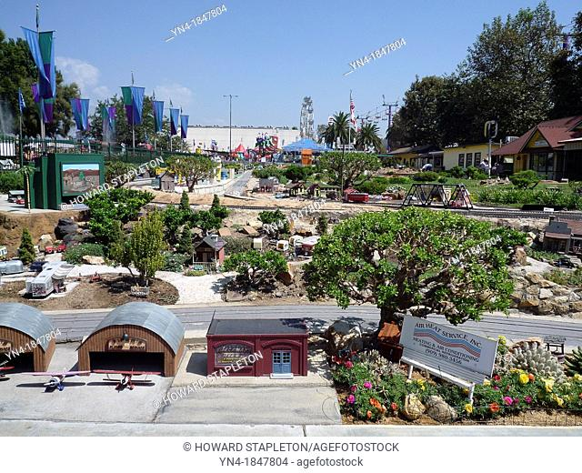 Garden Railroad at the Los Angeles County Fair  This model railroad covers an area of about 100x300 feet