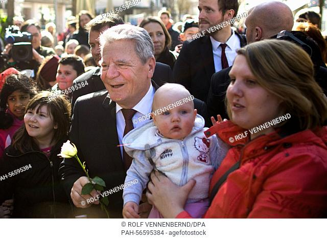 German President Gauck is welcomed by the residents of Arnsberg, Germany, 11 March 2015. Gauck caught up on local projects and inititiaves for elderly residents