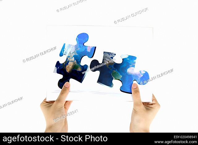 photo of global map puzzles communication