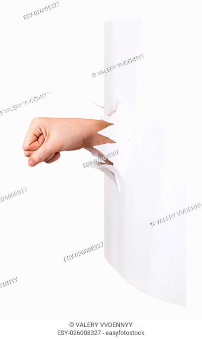 side view of the fist punches a paper wall isolated on white background