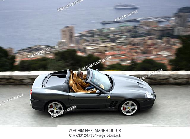 Car, Ferrari Superameriapprox. model year 2005-, black, Convertible, coupe/Coupe, driving, side view, country road, landscape, open top