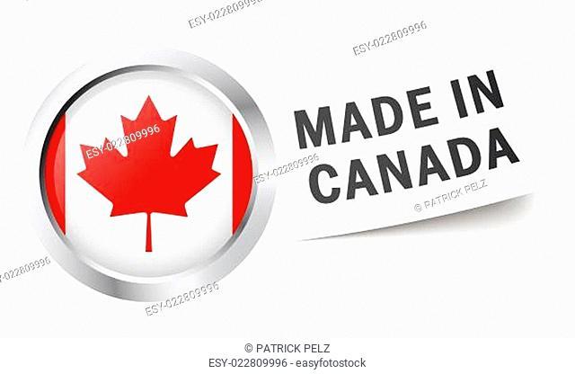 Button mit Fahne MADE IN CANADA