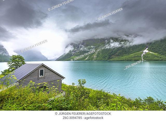 Lake Lovatnet, Norway, hut at the shore