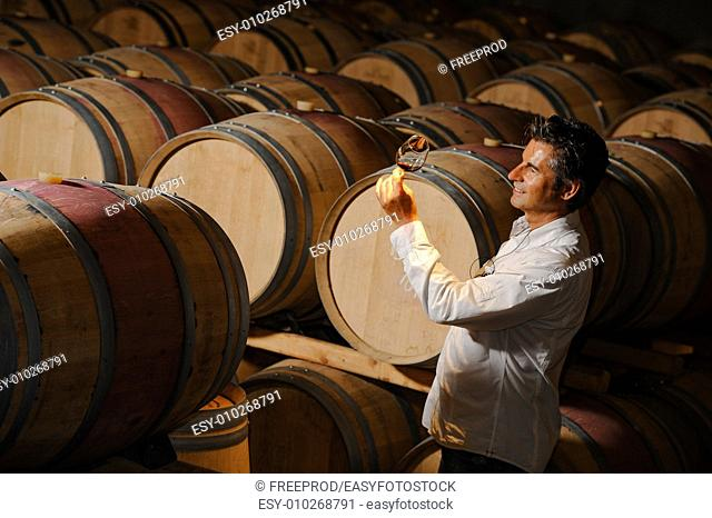 Tourism - Man tasting wine in a cellar-Winemaker