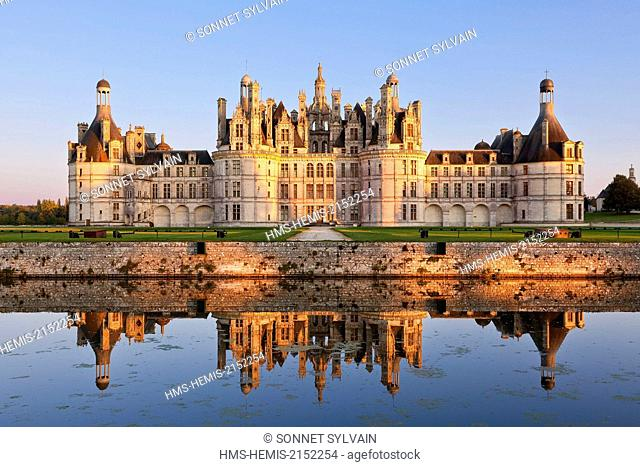 France, Loir et Cher, Loire Valley, Chambord, Chateau de Chambord listed as World Heritage by UNESCO, built in 16th century in Renaissance style