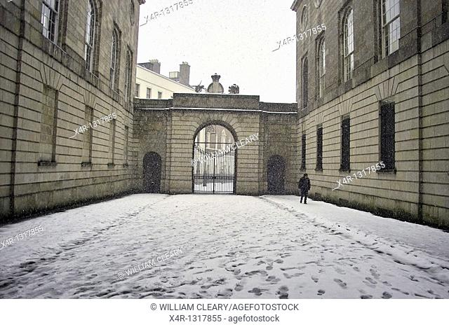 Fresh snow falling at the Kings Inns in Dublin, Ireland  The Kings Inns is the training college for barristers