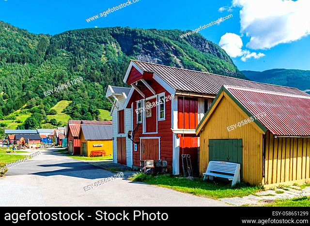 Historical buildings in Vik in Sogn and Fjordane county in Norway at the southern shore of the Sognefjord and along the Gaularfjellet scenic route