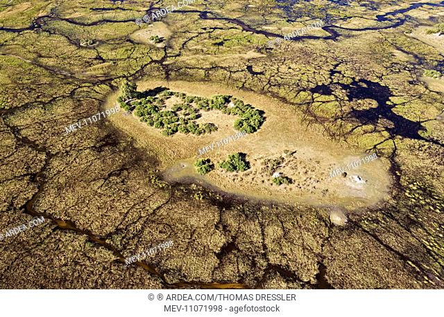 Freshwater marshes with streams, channels and islands aerial view - Okavango Delta, Moremi Game Reserve, Botswana