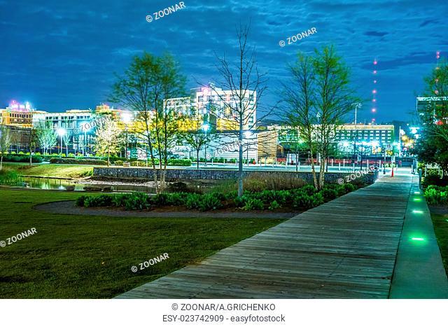 Skyline of Birmingham Alabama from Railroad Park