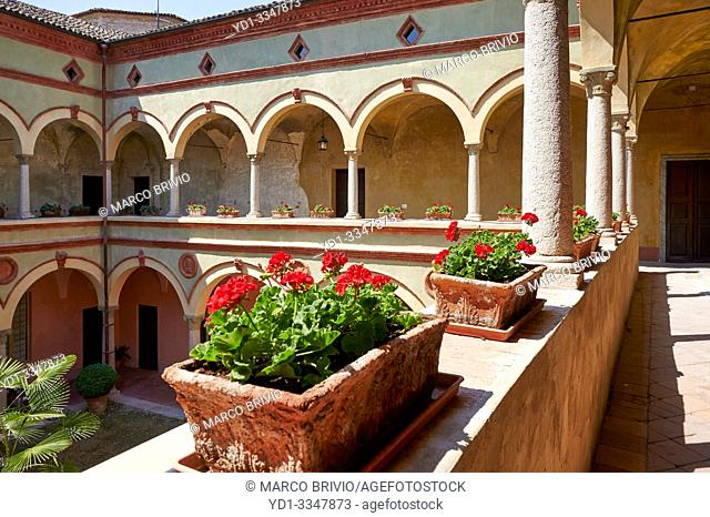 Rivalta Castle. Gazzola, Piacenza, Emilia Romagna, Italy. The castle, one of the most beautiful and best preserved in Emilia, is in Rivalta suggestive village