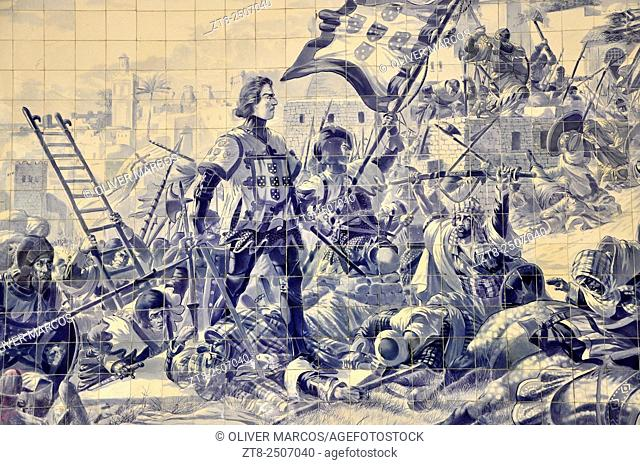 Image of Prince Henry the Navigator during the conquest of Ceuta. Station Sao Bento Porto (Portuguese: Estação Ferroviária Porto-São Bento) is a railway station...