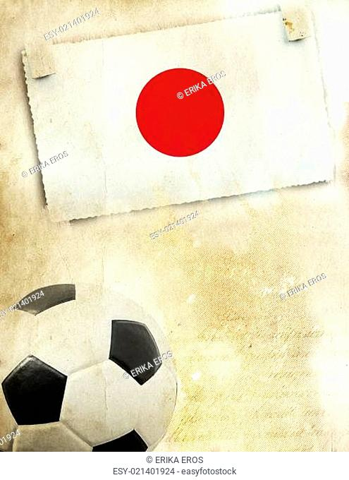 Photo of Japan flag and soccer ball