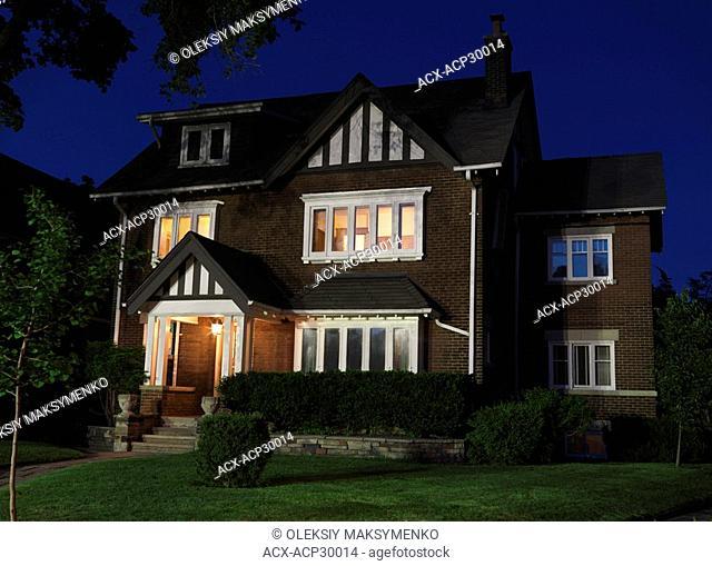 Beautiful family house nighttime scenery. Baby Point neighbourhood Toronto Ontario Canada