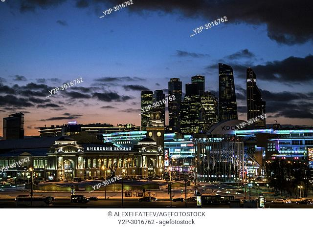 Panoramic night vioew of Moscow