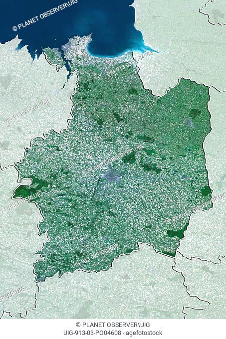 Departement of Ille-et-Vilaine, France, True Colour Satellite Image