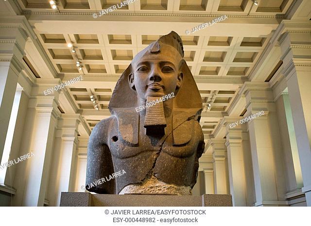 Stone bust of the egyptian Pharaoh Ramses II, Egyptian sculpture, The British Museum, London. England. UK