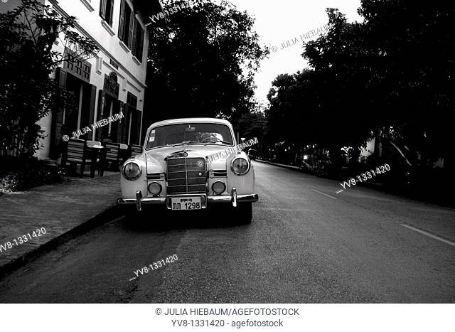 A 1957 Mercedes sedan in Luang Prabang, Laos