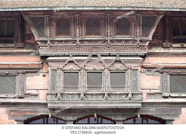 Traditional windows at one of the courtyards of the royal palace, Durbar Square, Kathmandu, Nepal