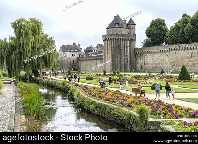 City wall and Jardin des remparts gardens, Vannes, Brittany, France