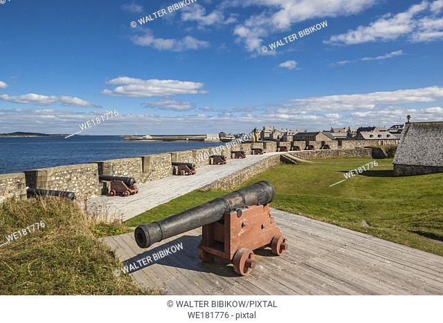 Canada, Nova Scotia, Louisbourg, Fortress of Louisbourg National Historic Park, cannons