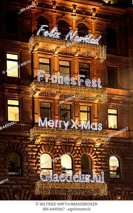 Lettering Merry Christmas in different languages, facade at the Hamburger Hof, Jungfernstieg, Hamburg, Germany