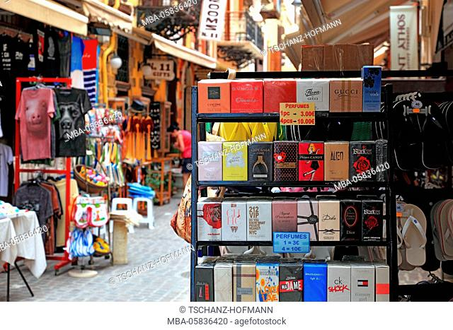Crete, in the old town of Chania, shops and souvenir shops in the old town lanes, sales of perfumes
