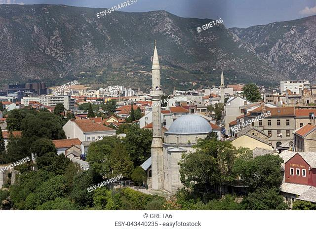View from the top of the city of Mostar, surrounded by mountains