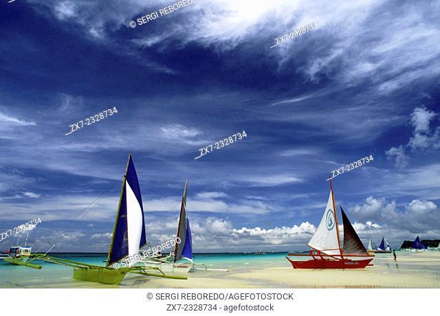 Philippines. Boracay Island Philippines. Sail boats on beach Boracay, The Visayas, Philippines. Bankas on white sand. White beach. Boracay