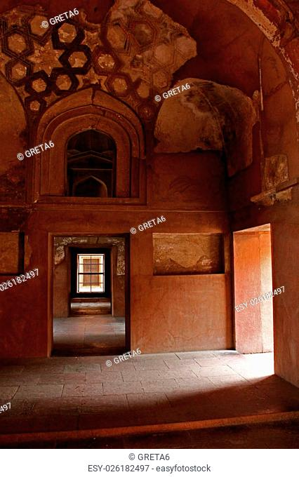 Agra, India. Agra Fort. The Agra Fort is an UNESCO World Heritage site located in Agra, Uttar Pradesh, India. Interior view