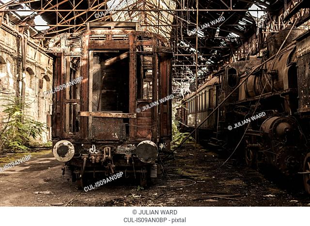 Abandoned train carriage in railway shed, Inota, Hungary