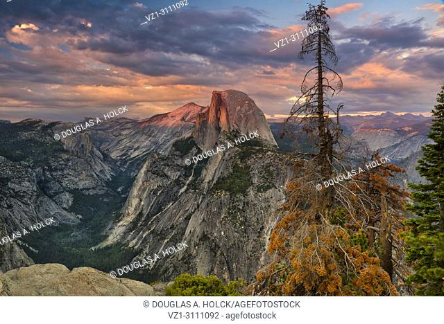 Yosemite National Park's iconic Half Dome puts on another display of brilliant sunset colors, California, USA