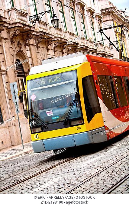 modern city tram . Lisbon Portugal