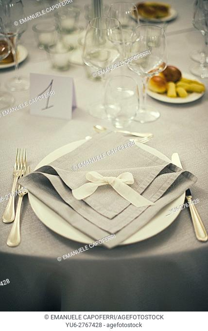 Table set for dinner and reception