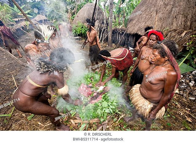 Dani men celebrating the rare pigs feast, the pinnacle of the social and religious life, Indonesia, Western New Guinea, Baliem Valley