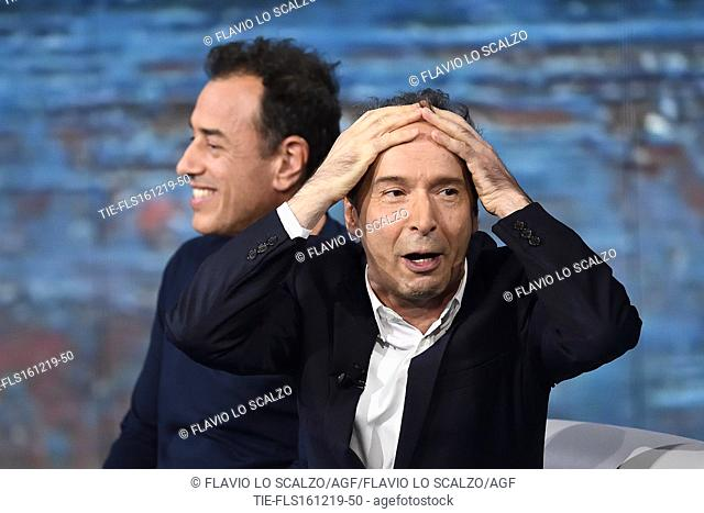 Director Matteo Garrone, the actor and director Roberto Benigni during the tv show Che tempo che fa, Milan, ITALY-15-12-2019