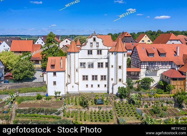 Aerial drone view, Graf-Eberstein-Castle, Gochsheim, Baden-Wurttemberg, Germany, Europe