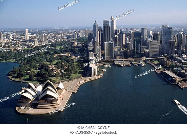 Air view of Sydney Harbour with Sydney Opera House