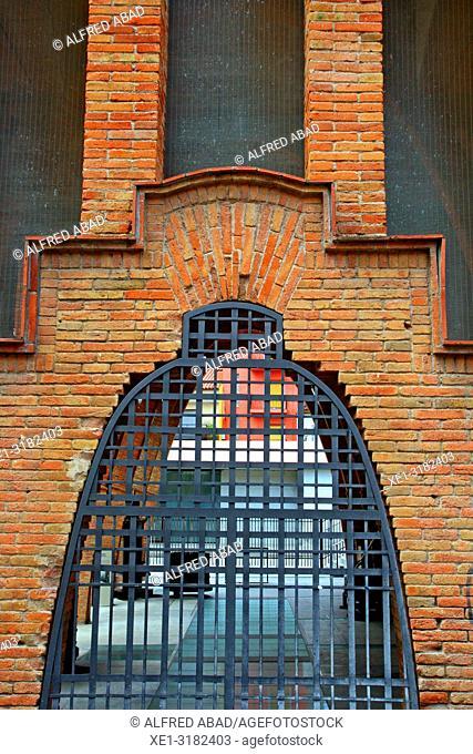 window with bars, Celler Cooperatiu, 1921, architect Cesar Martinell, Sant Cugat del Valles, Catalonia, Spain