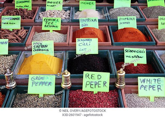 Herbs and Spices at the Spice Bazaar, Istanbul, Turkey
