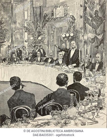 Banquet of the opposition Nicotera-Magliani-Tajani in Naples, Italy, April 21, 1890, illustration from Il Secolo Illustrato della Domenica, Year II, No 30